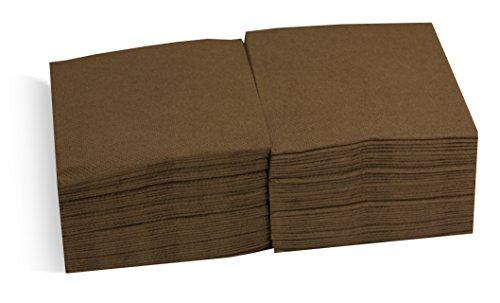 Saten ser22107610Coktail, tovagliolo 20x 20, 2strati, piegati a 1/4, 100Tovaglioli, punta-punta, Cioccolato