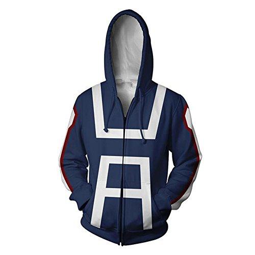 Blau Hoodie Cosplay Sweatshirt Kostüm (M, Blau 1)