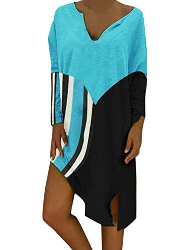 Onsoyour Donna Sciolto Casual Mini Maglietta Shirt Vestito Abito Estate Patchwork A Strisce Scollo A V Manica Lunga Vestiti Eleganti Vestitini Estivi Azzurro IT 46