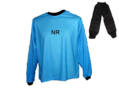 Spielfussballshop Torwart Trikot gepolstert Blau Lange TW Hose mit Wunschname Nummer Kinder Größe 140