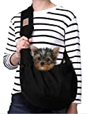 woman with small dog in a dog carrier sling