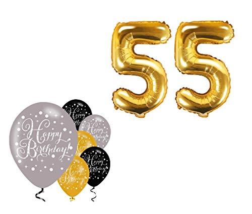Feste Feiern Party-Deko 55. Geburtstag Schnapszahl 8 Teile Set Zahlenballon Luftballon Folie Zahl 55 Gold Schwarz Silber metallic Dekoration Happy Birthday Jubiläum