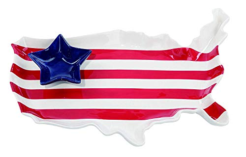 Patriotic Ceramic Platter, 4th of July Americana