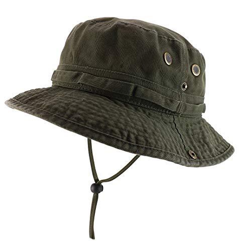 Armycrew Big Oversized Jungle Boonie Bucket Hat with Chin String Fits Upto XXXL - Olive - 2XL-3XL