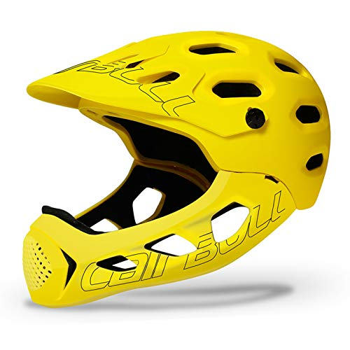 ZJM BMX Mountain Bike Helmet, Adults Allround Bicycle Helmet Road Cross-Country Bicycle Full Face Helmet with Removable Chin Bar for Outdoor Safe Riding, M/L (56-62CM),Yellow