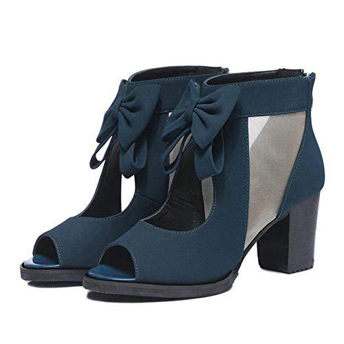 Frauen Peep Toe High Heels Sommermode Schmetterling Knoten Bequeme Pumps Quadrat Ferse Slip on Sandalen