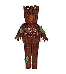 Officially licensed Stick Man costume from the books of Julia Donaldson Tree-bark design costume with character hood and matching trousers Ideal for Book Week For children aged 5-6 years old, larger size listed separately