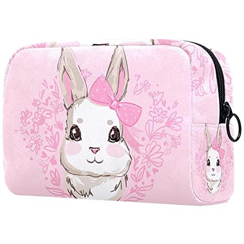 Bolsas de cosméticos, bolsa de viaje con cremallera, neceser de sobrina o sobrino para tía en cumpleaños, día de la madre, Navidad, con diseño de conejo, color rosa