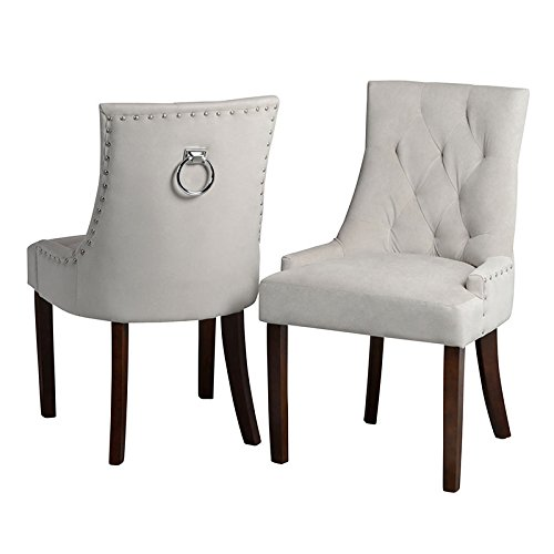 My-Furniture - 1 x Chaise de Salle à Manger avec Anneau au Dos - Taupe, piétement Finition Noyer - Torino