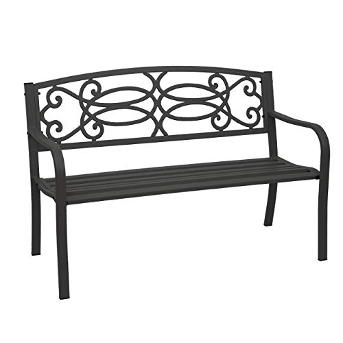 Mendler Gartenbank HWC-F44, Bank Parkbank Sitzbank, 2-Sitzer pulverbeschichteter Stahl - schwarz