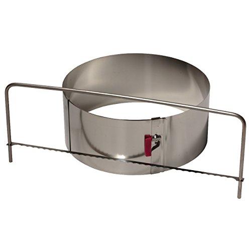 LARES Set - Tortenring mit Klemmhebel Ø 18-30 cm Höhe 10 cm entwickelter Tortenbodenschneider - beides aus Edelstahl
