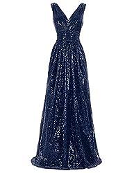 Sleeveless Maxi Sequin Navy Blue Gown