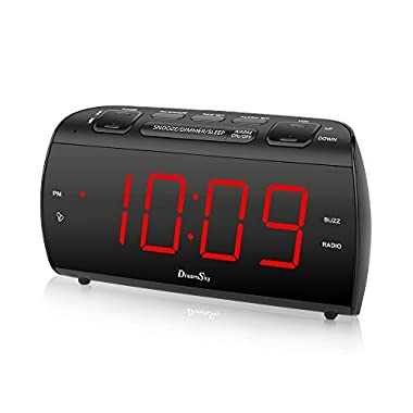 DreamSky Large Alarm Clock Radio with FM Radio and USB Port for Charging, 1.8  LED Digit Display with Dimmer, Snooze, Sleep Timer, Adjustable Alarm Volume, Headphone Jack, Outlet Powered
