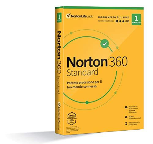 Norton 360 Standard 2021, Antivirus per 1 Dispositivo, Licenza di 1 anno, Secure VPN e Password Manager, PC, Mac, tablet e smartphone