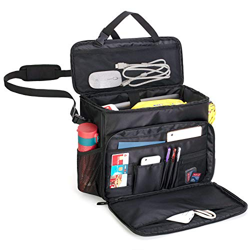CURMIO Car Front Seat Organizer, Passenger Seat Storage Bag with Padded Sleeve for Laptop, Easily Transferred to Handbag Shoulder Bag, Perfect for Law Enforcement, Police Patrol. Patent Design