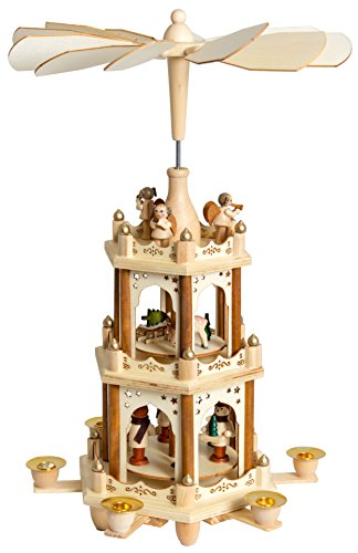 BRUBAKER Christmas Decoration Pyramid 18 Inches Wood Nativity Play - 3 Tier Carousel with 6 Candle Holders