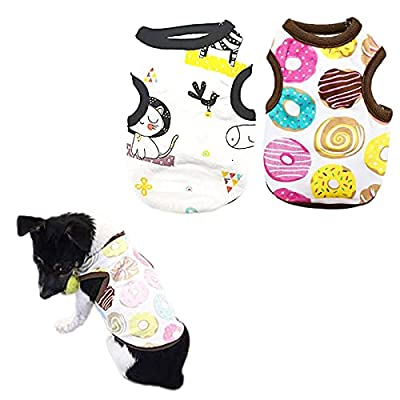 PETCARE 2 PCS Cotton Dog Shirts Pet Shirts Cartoon Print Dog T-Shirt Vest Pet Clothing Puppies Clothes for Small Dogs Doggie Spring Summer Apparel(M(Chest: 37cm/14.57inch), 2 STYLE)…