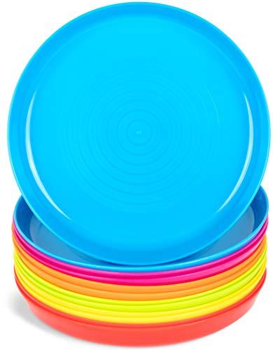 Plaskidy Kids Plastic Plates Set of 12 - Reusable Plastic Childrens Plates Microwave Dishwasher Safe - BPA Free Plastic Dinner Plates For Kids 6 Assorted Colors 7 Inch Kid Plates (2 of Each Color)