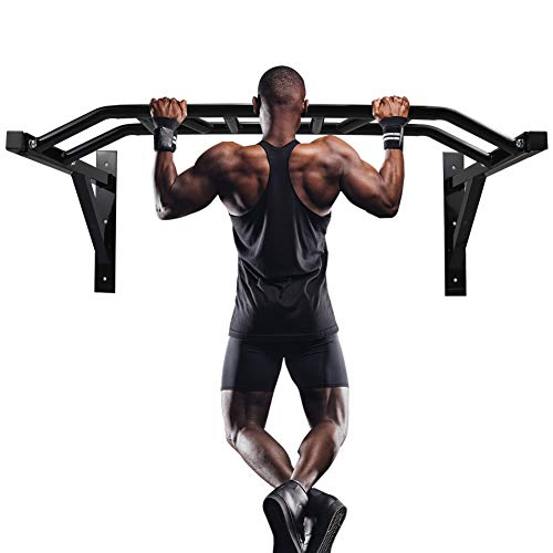 Gielmiy Wall Mount Pull-Up Bar,Multi-Grip Chin-Up Station, Professional Indoor Gymnastics Bar Home Full Body Strength Training Workout Barfor Fitness- Max Limit 440 lbs