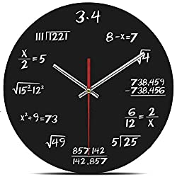 AKAHA Math Wall Clock 12-Inch - Unique Art Design - Mathematical Equations Wall Clock for Classroom, Home, Office(3.4)