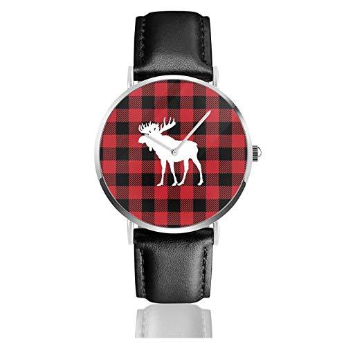 Red Buffalo Plaid Moose Classic Casual Quarzo Orologio In Acciaio Inox Cinturino In Pelle Nera Orologi Da Polso