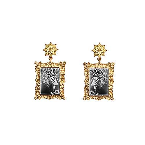 Black White Tiger Cat Leopard Lion Wolf Owl Face Photos Vintage Mandala Jewelry Glass Cabochon Drop Dangles Earrings 4