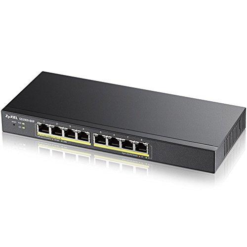 Zyxel 8-Port Gigabit PoE Switch | Smart managed | Tisch-/Wandmontage und lüfterloses Design | 8 PoE+-Ports mit einem Budget von 70W | VLAN, IGMP, QoS| Lebenslange Garantie [GS1900-8HP]