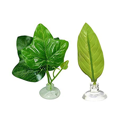 Amasawa 2 Models Betta Leaf, Floating Betta Bed Leaf Hammock,Artificial Plant Leaf Betta Hammock Fish Rest Spawning Bed Aquariums Fish Tank Supply Leaves with Suction Cup