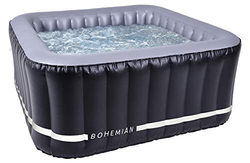 N NETSPA Spa Gonflable carré Bohemian 2+2 Plaves Gonfiabile Quadrata Plaves-SP-BHM118-42°C-Volume 650l-158 x 70 cm, Nero, 158 x 158 x 70 cm