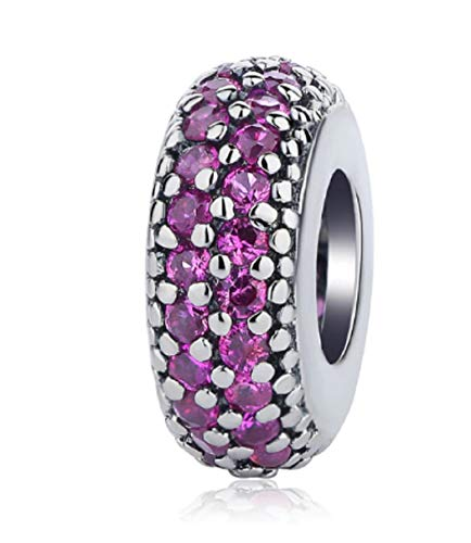 FeatherWish 925 Sterling Silver Pave Inspiration Spacer Bead Charm With Cubic Zirconia Fits Pandora Bracelet (Dark Pink)