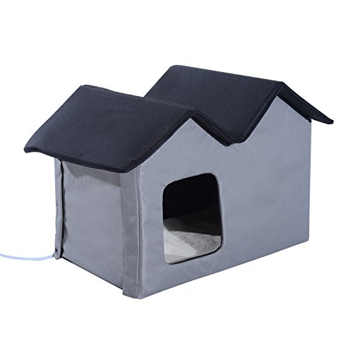 PawHut Double Heated Portable Indoor Cat Shelter House, Grey