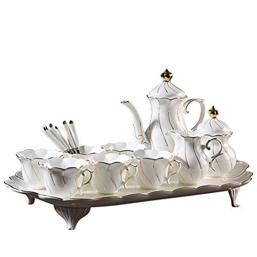 JHSHENGSHI Plato de Cena de cerámica Un Juego de 10 Piezas de té de Taza de café con Bandeja y Cuchara, cerámica Reutilizable sin Tapa Taza de Agua, Adecuado par