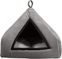 Mellifluous Tent Grey Velvet Soft Hut Bed for Toy Dogs and Cats