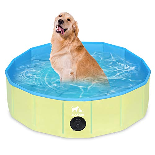 Zacro Piscina Plegable para Perros para Niños/Mascotas Perros/Gatos Piscina Infantil para Perros Piscina con PVC Antideslizante Resistente al Desgaste (80 cm x 20 cm) - Azul Claro y Amarillo
