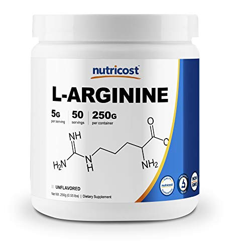 Nutricost L-Arginine (250 Grams) - Pure L-Arginine Powder - 5000mg Per Serving; 50 Servings
