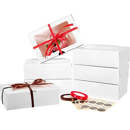 50 Piezas Cajas de Magdalena Pastel de Papel Blanco de 9,5 x 6 x 3 Pulgadas con Ventana y Tablero de Torta Cajas de Golosinas de Panadería con Pegatinas y Cintas para Pastelería, Rosquillas