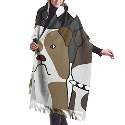 Winter Schal Damen Warm Baumwolle Cartoon Mr. Dog Pashmina Schals mit Quasten/Fransen