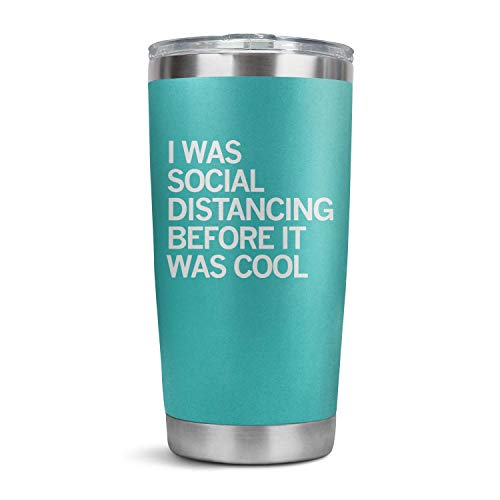 HappyWomen I was Social Distancing Before It was Cool Coronavirus Stainless Steel Tumbler Bulk in-car,20 OZ Vacuum Insulated Coffee Tea Car Cup with Anti-Spill Lid and Straw,Men Gift