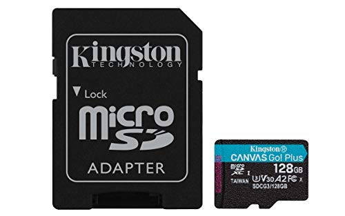 Kingston SDCG3/128GB microSD Speicherkarte ( 128GB microSDXC Canvas Go Plus 170R A2 U3 V30 mit SD Adapter )
