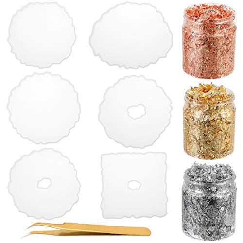 Cysincos 6 Stück Unregelmäßig Untersetzer Silikonform Epoxidharz Form Coaster Resin Gießformen Resin Mold Untersetzer Form Basteln DIY