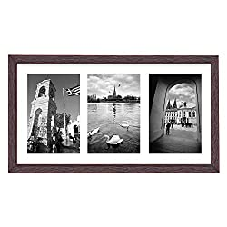 Golden State Art, 8.5x16.3 Distressed Red Wood Frame - White Mat for Three 5x7 Pictures - Sawtooth Hangers- Swivel Tabs - Wall Mounting - Landscape/Portrait - Real Glass - Collage Frame