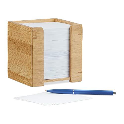 Relaxdays Zettelbox Bambus, Zettelkasten Holz, Notizzettel Halter, 900 Blatt, H x B x T: 10,5 x 10,5 x 10,5 cm, natur