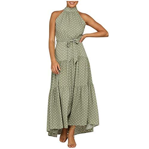 Liably Women's Polka Dot Round Neck Sleeveless Flounce Dress with Medium Waist Knee-Length Summer Women's Dress Retro Loose Maxi Style - Green - X-Large