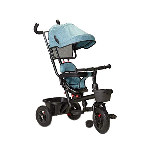 GYF Tricycle, High Carbon Steel Multi-function 4-in-1 Tricycle Balance Sliding, Swivel Seat, Baby Outdoor Tricycle, 3 Colors, 92x58x48cm (Color : Blue)