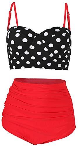ChayChax Damen Hoher Taille Badeanzug 50er Retro Polka-Punkt Badeanzüge Bademode Zweiteiler Bikini Set Schwimmanzug, Schwarz Punkt + Rot, Größe M