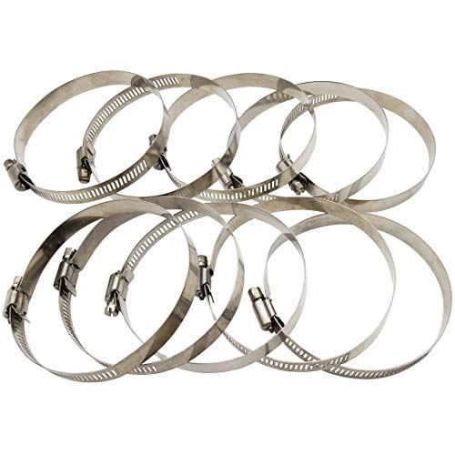 Sipery 10Pcs Hose Clamps Adjustable 3 Inch-4 Inch 304 Stainless Steel Worm Gear Hose Clamp Fuel Line Clamp for Water Pipe, Plumbing, Automotive and Mechanical Application 78-101mm