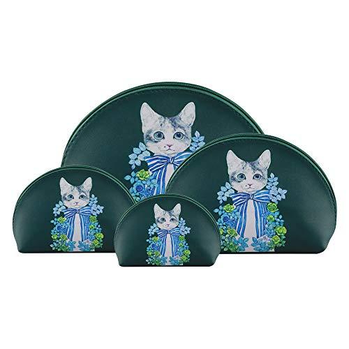 F.ZH コスメポーチ 化粧ポーチ トラベルポーチ トイレタリーバッグ メイクバッグ 可愛い 猫柄 花柄 洗面用具収納 出張 旅行用 小物ポーチ 4点セット (グリーン猫)