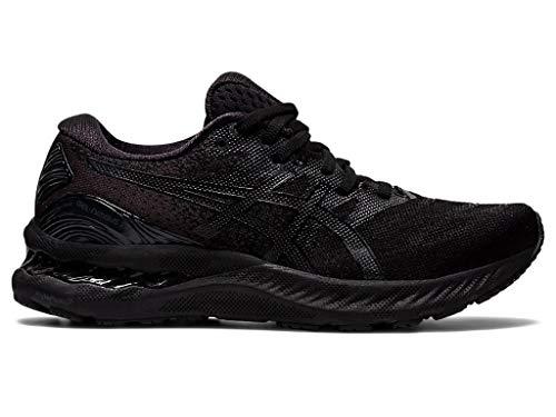 ASICS Women's Gel-Nimbus 23 (D) Running Shoes, 12W, Black/Black