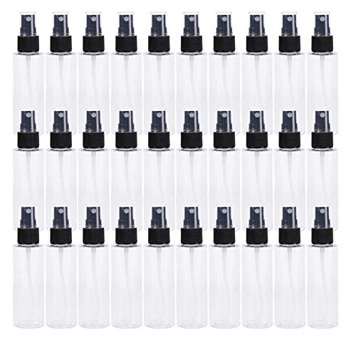 Bekith 30 Pack 2 oz Clear PET Spray Bottles with Black Fine Mist Sprayer - Reusable Empty Plastic Bottles for for Essential Oils, Travel, Perfumes