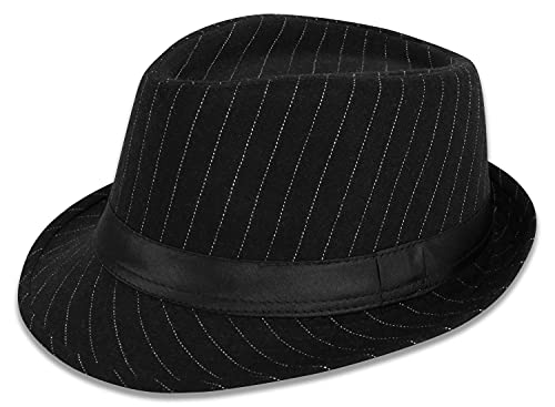 Simplicity Mens Cool Teardrop Crown Fedora Trilby Hat Pinstripe with Black Band